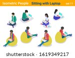 isometric casual people sitting ... | Shutterstock .eps vector #1619349217