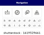 navigation line icon set. map ... | Shutterstock .eps vector #1619529661
