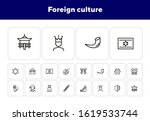 foreign culture line icon set.... | Shutterstock .eps vector #1619533744