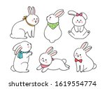 cartoon cute easter day actions ... | Shutterstock .eps vector #1619554774
