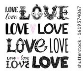 set of illustrations with words.... | Shutterstock .eps vector #1619574067