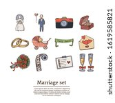marriage hand drawn doodle set. ... | Shutterstock .eps vector #1619585821