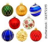 eight unique christmas bauble... | Shutterstock . vector #161972195