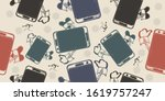 dependence on phone and social... | Shutterstock .eps vector #1619757247