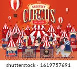 Vintage Circus Scene Template...