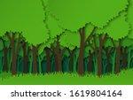 paper forest. green paper cut... | Shutterstock . vector #1619804164