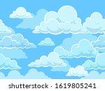 cartoon seamless clouds... | Shutterstock . vector #1619805241