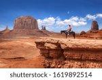 Legendary Scene Of A Cowboy In...