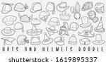 hat helmets doodle line art...   Shutterstock .eps vector #1619895337