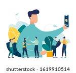 vector illustration  guy takes... | Shutterstock .eps vector #1619910514