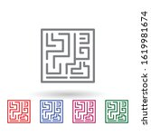 labyrinth multi color icon....