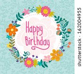 greeting card with floral frame ... | Shutterstock .eps vector #162004955