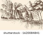 waterfall in the mountains... | Shutterstock .eps vector #1620084841
