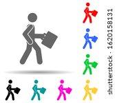 businessman  walk multi color...