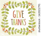 cute vintage thanksgiving day... | Shutterstock .eps vector #162021791