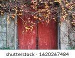 Red Wooden Door Or Gate Ancient ...