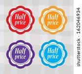 half price stickers with... | Shutterstock . vector #162046934
