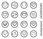 Hearts Icons. Black Flat Desig...
