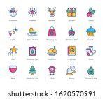 christmas filled line icons  ...