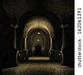 Dark Cellar In A Medieval Castle