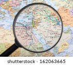 middle east under magnifier | Shutterstock . vector #162063665