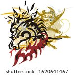 fiery horse symbol with dragon...   Shutterstock . vector #1620641467