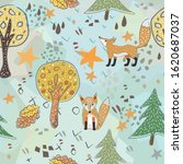 seamless fox pattern with cute... | Shutterstock . vector #1620687037