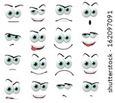 illustration of 16 cartoon faces | Shutterstock . vector #162097091