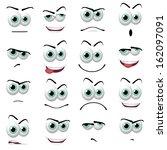 illustration of 16 cartoon faces | Shutterstock . vector #162097091