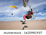 Foot Launch Paramotor Taking...