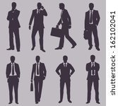 vector set of silhouettes of... | Shutterstock .eps vector #162102041