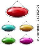 blank metallic banners hanging... | Shutterstock .eps vector #162102401