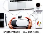 virtual reality glasses on mans ... | Shutterstock . vector #1621054381