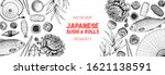 sushi and rolls vector... | Shutterstock .eps vector #1621138591