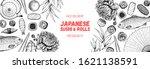 sushi and rolls vector... | Shutterstock .eps vector #1621138591