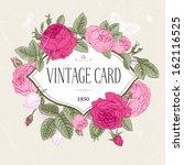 Vector Vintage Postcard. Frame...