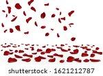 falling red rose petals... | Shutterstock .eps vector #1621212787