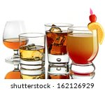 various cocktails on white... | Shutterstock . vector #162126929
