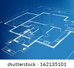 house technical draw blueprint. ... | Shutterstock . vector #162135101