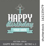 happy birthday boy retro card... | Shutterstock .eps vector #162135479