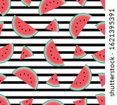 trendy watermelon pattern with...   Shutterstock .eps vector #1621395391