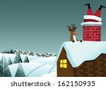 reindeer sees santa claus stuck ... | Shutterstock .eps vector #162150935