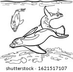 group of water seals swimming ...   Shutterstock .eps vector #1621517107