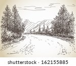 Road In Countryside Hand Drawn...