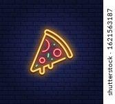 vector neon pizza slice icon.... | Shutterstock .eps vector #1621563187