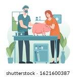 veterinarian giving injection... | Shutterstock .eps vector #1621600387