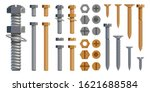 Vector Set Of Bolts  Nuts....