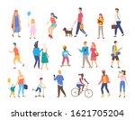 men and women with children... | Shutterstock . vector #1621705204
