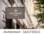 Small photo of PRAGUE - CZECHIA - NOVEMBER 1, 2019: Patek Philippe logo on their jewelry boutique in Prague. Patek Philippe is a Swiss luxury watchmaker famous for chronographs and watches.