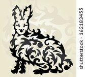 hand drawn decorative rabbit ... | Shutterstock . vector #162183455